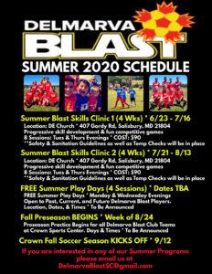DBSC Summer 2020 Schedule